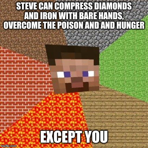 Minecraft Steve | STEVE CAN COMPRESS DIAMONDS AND IRON WITH BARE HANDS, OVERCOME THE POISON AND AND HUNGER EXCEPT YOU | image tagged in minecraft steve | made w/ Imgflip meme maker