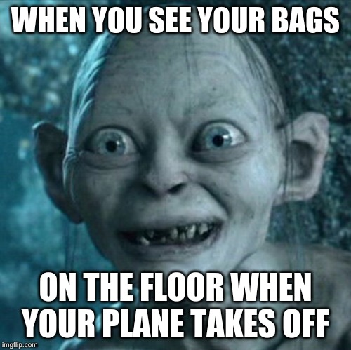 Gollum | WHEN YOU SEE YOUR BAGS ON THE FLOOR WHEN YOUR PLANE TAKES OFF | image tagged in memes,gollum | made w/ Imgflip meme maker