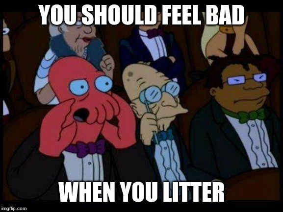 You Should Feel Bad Zoidberg Meme |  YOU SHOULD FEEL BAD; WHEN YOU LITTER | image tagged in memes,you should feel bad zoidberg | made w/ Imgflip meme maker