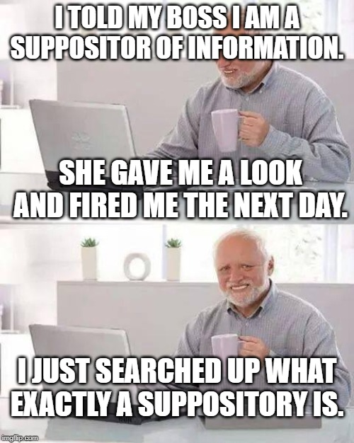 Hide the Pain Harold Meme | I TOLD MY BOSS I AM A SUPPOSITOR OF INFORMATION. SHE GAVE ME A LOOK AND FIRED ME THE NEXT DAY. I JUST SEARCHED UP WHAT EXACTLY A SUPPOSITORY | image tagged in memes,hide the pain harold | made w/ Imgflip meme maker