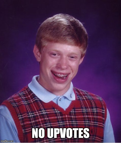 Bad Luck Brian Meme | NO UPVOTES | image tagged in memes,bad luck brian | made w/ Imgflip meme maker