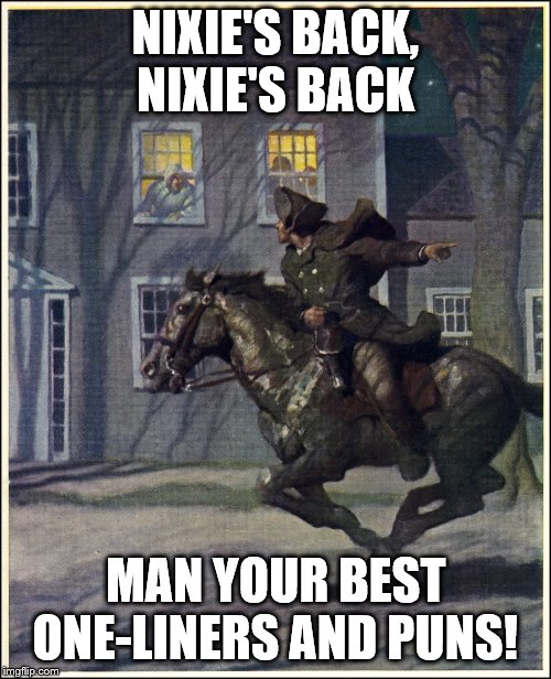 revere Nixie | NIXIE'S BACK, NIXIE'S BACK MAN YOUR BEST ONE-LINERS AND PUNS! | image tagged in paul revere,nixieknox | made w/ Imgflip meme maker