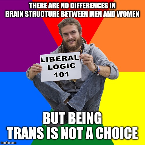 Liberal Logic 101 |  THERE ARE NO DIFFERENCES IN BRAIN STRUCTURE BETWEEN MEN AND WOMEN; BUT BEING TRANS IS NOT A CHOICE | image tagged in liberal logic 101 | made w/ Imgflip meme maker