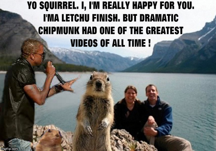 image tagged in throwback thursday,vmas,squirrel,mtv,kanye west,photobomb | made w/ Imgflip meme maker
