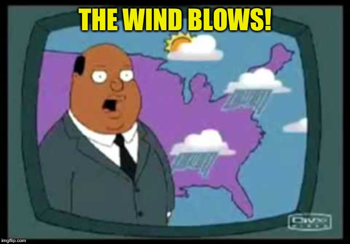weather man family guy | THE WIND BLOWS! | image tagged in weather man family guy | made w/ Imgflip meme maker