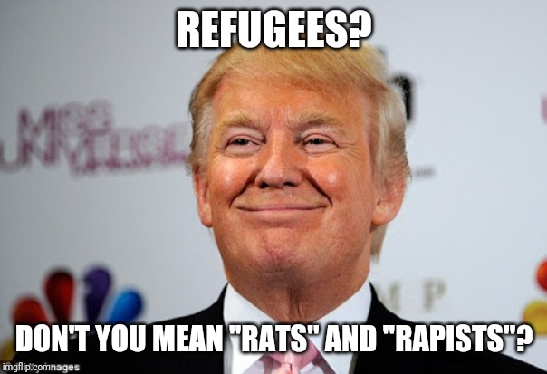 "Donald trump approves | REFUGEES? DON'T YOU MEAN ""RATS"" AND ""RAPISTS""? 