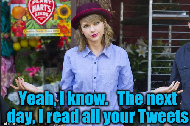 Taylor Swift Shrug | Yeah, I know.   The next day, I read all your Tweets | image tagged in taylor swift shrug | made w/ Imgflip meme maker