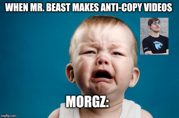 BABY CRYING | WHEN MR. BEAST MAKES ANTI-COPY VIDEOS MORGZ: | image tagged in baby crying | made w/ Imgflip meme maker