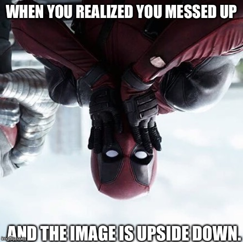 Deadpool Surprised | WHEN YOU REALIZED YOU MESSED UP AND THE IMAGE IS UPSIDE DOWN. | image tagged in memes,deadpool surprised | made w/ Imgflip meme maker
