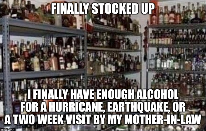FINALLY STOCKED UP I FINALLY HAVE ENOUGH ALCOHOL FOR A HURRICANE, EARTHQUAKE, OR A TWO WEEK VISIT BY MY MOTHER-IN-LAW | image tagged in alcohol,mother in law | made w/ Imgflip meme maker