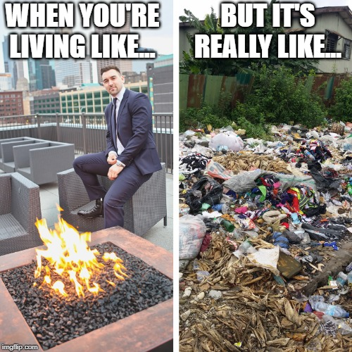 WHEN YOU'RE LIVING LIKE... BUT IT'S REALLY LIKE... | image tagged in life,funny memes,hard work | made w/ Imgflip meme maker