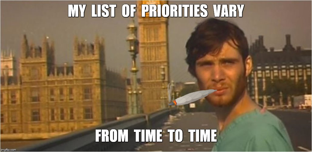 MY  LIST  OF  PRIORITIES  VARY FROM  TIME  TO  TIME | made w/ Imgflip meme maker
