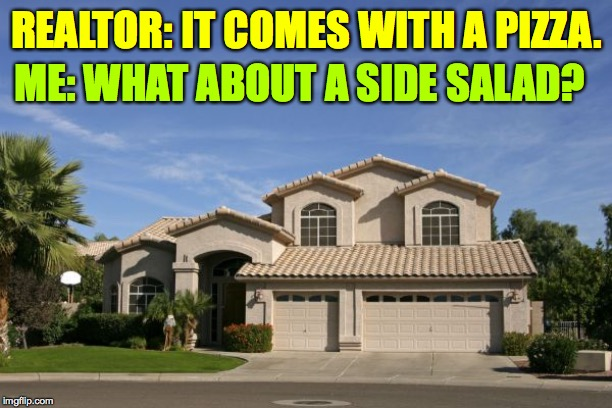 Realtor | REALTOR: IT COMES WITH A PIZZA. ME: WHAT ABOUT A SIDE SALAD? | image tagged in realtor | made w/ Imgflip meme maker