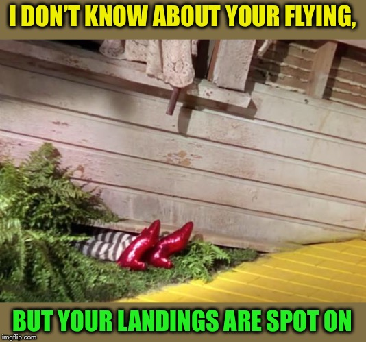 Wicked Witch of the East Cellar Door | I DON'T KNOW ABOUT YOUR FLYING, BUT YOUR LANDINGS ARE SPOT ON | image tagged in wicked witch of the east cellar door | made w/ Imgflip meme maker