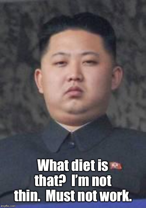 Kim Jong Un | What diet is that?  I'm not thin.  Must not work. | image tagged in kim jong un | made w/ Imgflip meme maker