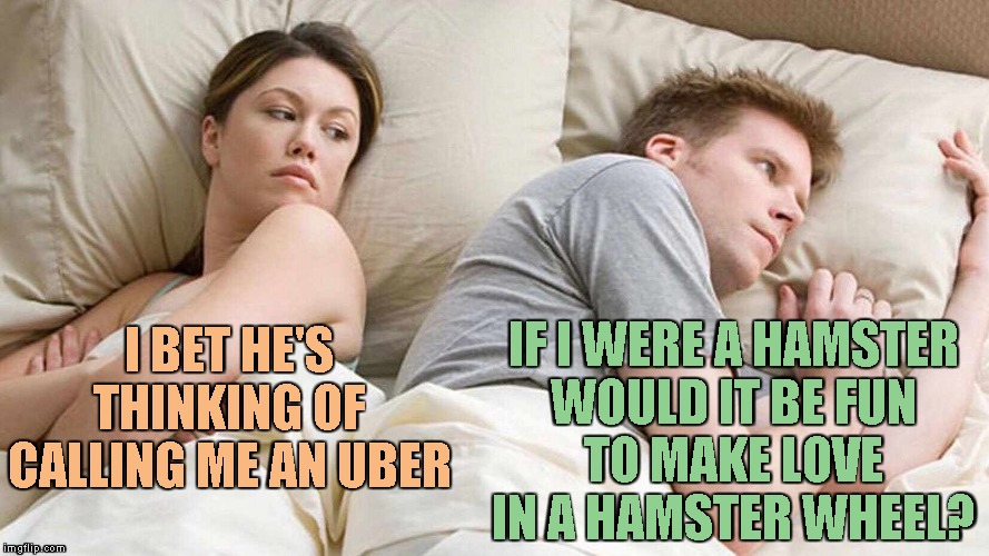 I bet he's thinking about other women  | I BET HE'S THINKING OF CALLING ME AN UBER IF I WERE A HAMSTER WOULD IT BE FUN TO MAKE LOVE IN A HAMSTER WHEEL? | image tagged in i bet he's thinking about other women | made w/ Imgflip meme maker