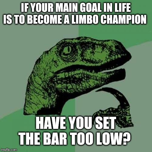 Philosoraptor Meme | IF YOUR MAIN GOAL IN LIFE IS TO BECOME A LIMBO CHAMPION HAVE YOU SET THE BAR TOO LOW? | image tagged in memes,philosoraptor | made w/ Imgflip meme maker