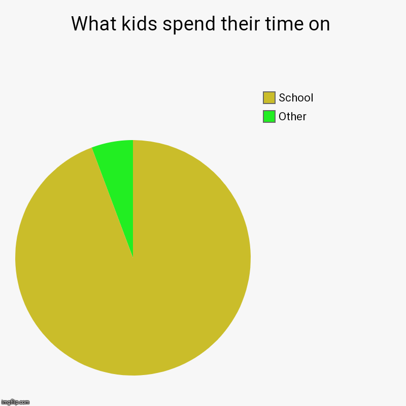 What kids spend their time on | Other, School | image tagged in charts,pie charts | made w/ Imgflip chart maker