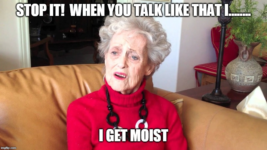 grandma | STOP IT!  WHEN YOU TALK LIKE THAT I........ I GET MOIST | image tagged in grandma | made w/ Imgflip meme maker