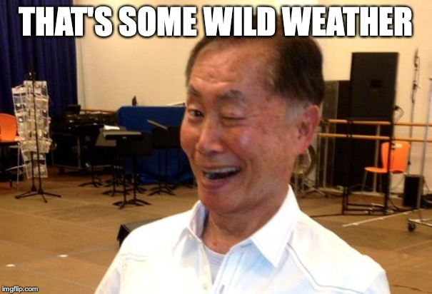 Winking George Takei | THAT'S SOME WILD WEATHER | image tagged in winking george takei | made w/ Imgflip meme maker