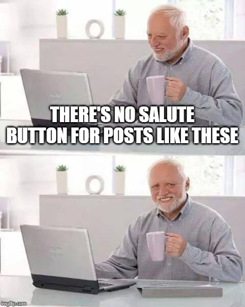 Hide the Pain Harold Meme | THERE'S NO SALUTE BUTTON FOR POSTS LIKE THESE | image tagged in memes,hide the pain harold | made w/ Imgflip meme maker
