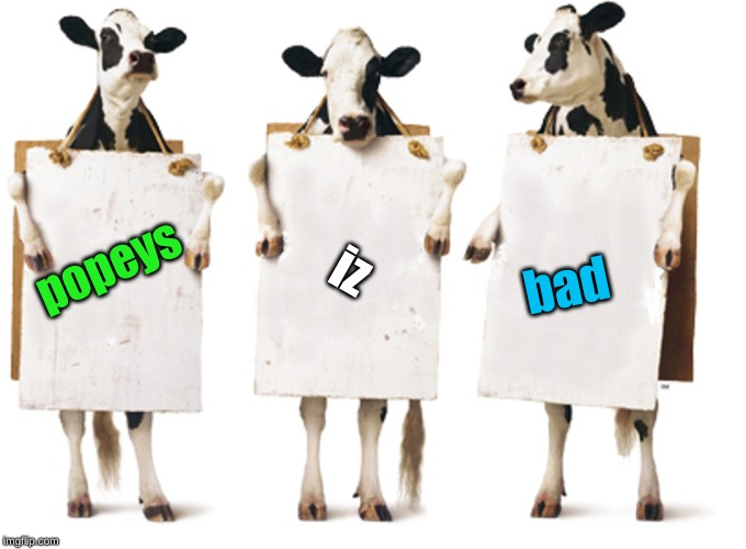 Chick-fil-A 3-cow billboard | popeys iz bad | image tagged in chick-fil-a 3-cow billboard | made w/ Imgflip meme maker