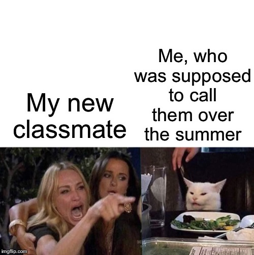 Me awkward on phone |  Me, who was supposed to call them over the summer; My new classmate | image tagged in woman yelling at cat,new student,oof,socially awkward | made w/ Imgflip meme maker