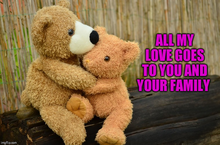 condolance caring consolation teddy bears | ALL MY LOVE GOES TO YOU AND YOUR FAMILY | image tagged in condolance caring consolation teddy bears | made w/ Imgflip meme maker