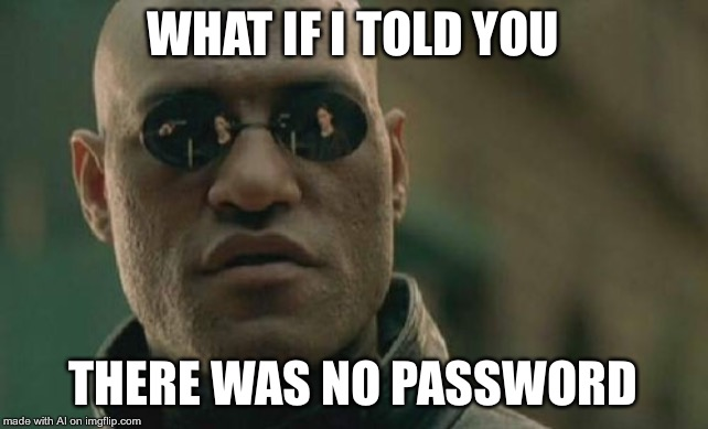 Matrix Morpheus Meme |  WHAT IF I TOLD YOU; THERE WAS NO PASSWORD | image tagged in memes,matrix morpheus | made w/ Imgflip meme maker