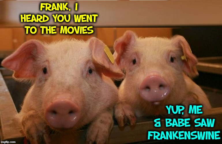 Horror Movies for Pigs | FRANK, I HEARD YOU WENT TO THE MOVIES YUP, ME & BABE SAW FRANKENSWINE | image tagged in vince vance,pigs,talking,telling jokes,frankenstein,babe | made w/ Imgflip meme maker