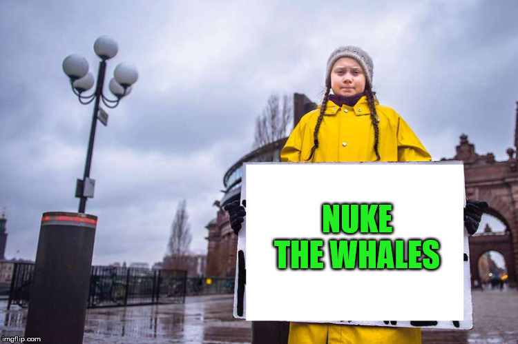 Greta Thunberg | NUKE THE WHALES | image tagged in greta thunberg | made w/ Imgflip meme maker