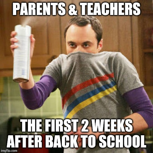 Back to school cooties | PARENTS & TEACHERS THE FIRST 2 WEEKS AFTER BACK TO SCHOOL | image tagged in sheldon spray,back to school,parents,teachers,germs | made w/ Imgflip meme maker