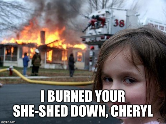 Disaster Girl |  I BURNED YOUR SHE-SHED DOWN, CHERYL | image tagged in memes,disaster girl | made w/ Imgflip meme maker