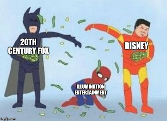 Pathetic Spidey |  20TH CENTURY FOX; DISNEY; ILLUMINATION ENTERTAINMENT | image tagged in memes,pathetic spidey | made w/ Imgflip meme maker