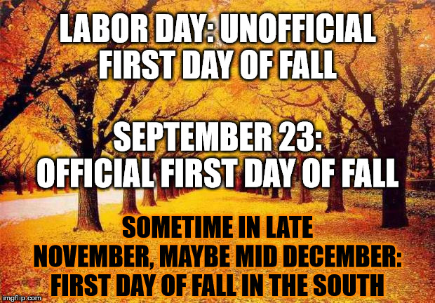 *sigh* | LABOR DAY: UNOFFICIAL FIRST DAY OF FALL SOMETIME IN LATE NOVEMBER, MAYBE MID DECEMBER: FIRST DAY OF FALL IN THE SOUTH SEPTEMBER 23: OFFICIAL | image tagged in autumn trees,seasons,south,weather | made w/ Imgflip meme maker