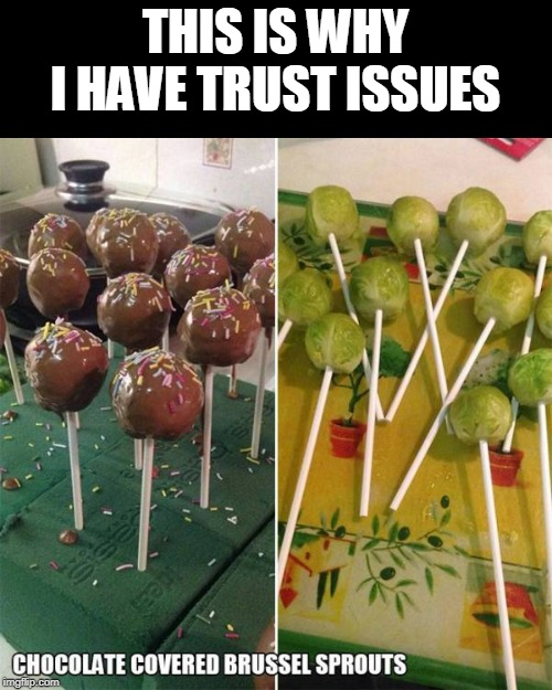 ewww | THIS IS WHY I HAVE TRUST ISSUES | image tagged in chocolate,brussels | made w/ Imgflip meme maker