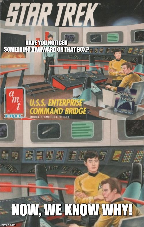 George hate Bill | HAVE YOU NOTICED SOMETHING AWKWARD ON THAT BOX? NOW, WE KNOW WHY! | image tagged in george takei,william shatner,star trek,awkward | made w/ Imgflip meme maker