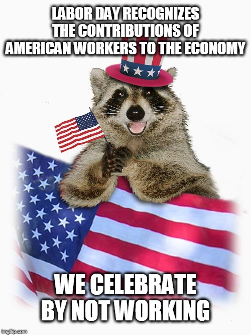 'murica |  LABOR DAY RECOGNIZES THE CONTRIBUTIONS OF AMERICAN WORKERS TO THE ECONOMY; WE CELEBRATE BY NOT WORKING | image tagged in labor day,america,american holiday | made w/ Imgflip meme maker