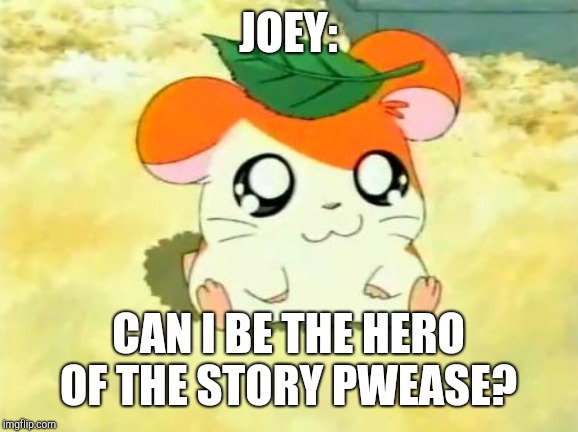 Hamtaro Meme | JOEY: CAN I BE THE HERO OF THE STORY PWEASE? | image tagged in memes,hamtaro | made w/ Imgflip meme maker