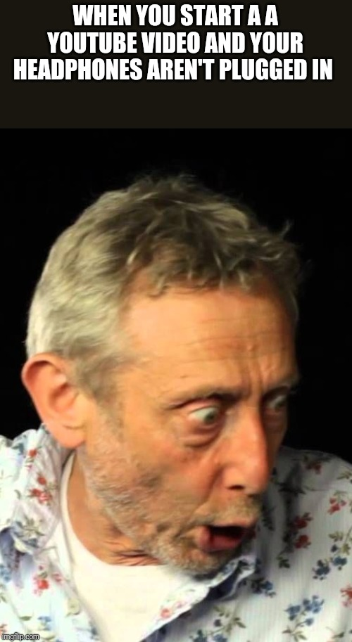 WHEN YOU START A A YOUTUBE VIDEO AND YOUR HEADPHONES AREN'T PLUGGED IN | image tagged in michael rosen | made w/ Imgflip meme maker