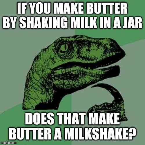 Philosoraptor | IF YOU MAKE BUTTER BY SHAKING MILK IN A JAR DOES THAT MAKE BUTTER A MILKSHAKE? | image tagged in memes,philosoraptor,milk,butter | made w/ Imgflip meme maker