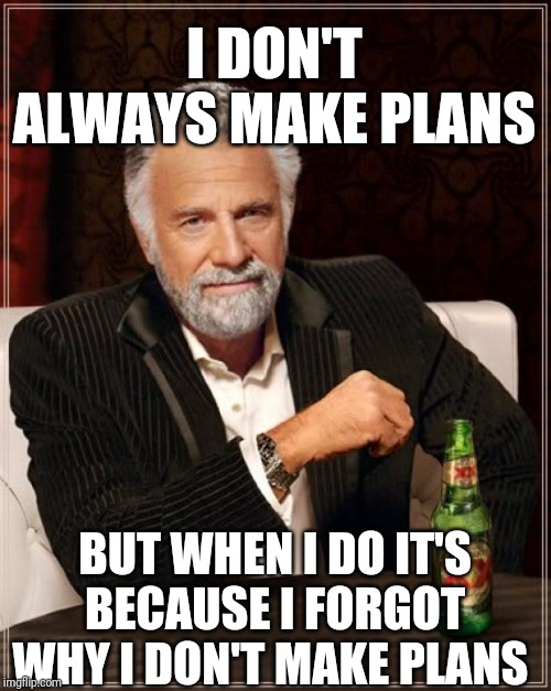 The Most Interesting Man In The World Meme | I DON'T ALWAYS MAKE PLANS BUT WHEN I DO IT'S BECAUSE I FORGOT WHY I DON'T MAKE PLANS | image tagged in memes,the most interesting man in the world | made w/ Imgflip meme maker