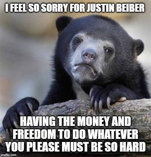 Madness | I FEEL SO SORRY FOR JUSTIN BEIBER HAVING THE MONEY AND FREEDOM TO DO WHATEVER YOU PLEASE MUST BE SO HARD | image tagged in justin bieber,bieber,moron,insanity,idiot,first world problems | made w/ Imgflip meme maker