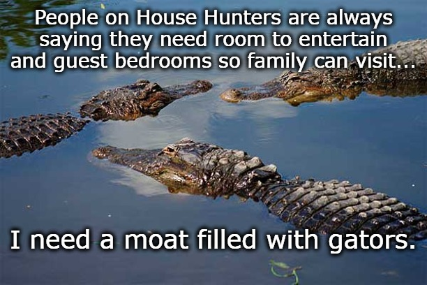 People on House Hunters are always saying they need room to entertain and guest bedrooms so family can visit... I need a moat filled with ga | image tagged in dark humor,uninvited guests,family drama,funny,peace and quiet | made w/ Imgflip meme maker