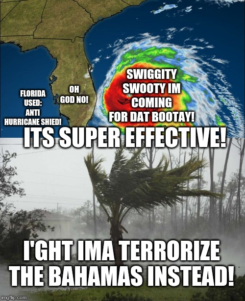 Anti hurricane shield! | SWIGGITY SWOOTY IM COMING FOR DAT BOOTAY! OH GOD NO! FLORIDA USED: ANTI HURRICANE SHIED! ITS SUPER EFFECTIVE! I'GHT IMA TERRORIZE THE BAHAMA | image tagged in funny,hurricane dorian,memes | made w/ Imgflip meme maker