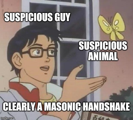 Is This A Pigeon Meme |  SUSPICIOUS GUY; SUSPICIOUS ANIMAL; CLEARLY A MASONIC HANDSHAKE | image tagged in memes,is this a pigeon | made w/ Imgflip meme maker