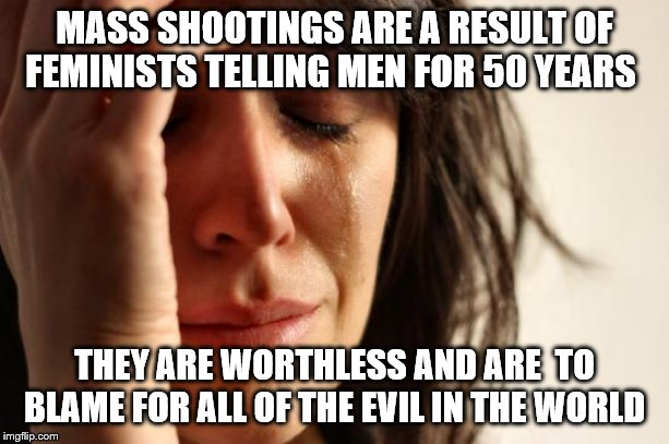 First World Problems |  MASS SHOOTINGS ARE A RESULT OF FEMINISTS TELLING MEN FOR 50 YEARS; THEY ARE WORTHLESS AND ARE  TO BLAME FOR ALL OF THE EVIL IN THE WORLD | image tagged in memes,first world problems | made w/ Imgflip meme maker