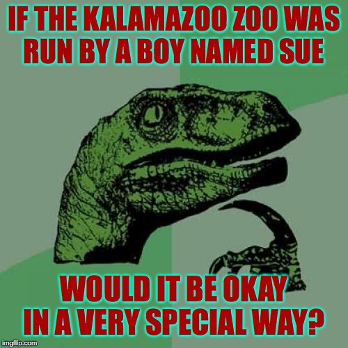 Philosoraptor | IF THE KALAMAZOO ZOO WAS RUN BY A BOY NAMED SUE WOULD IT BE OKAY IN A VERY SPECIAL WAY? | image tagged in memes,philosoraptor,i got a zoo in kalamazoozoozoozoozoo,boy named sue | made w/ Imgflip meme maker