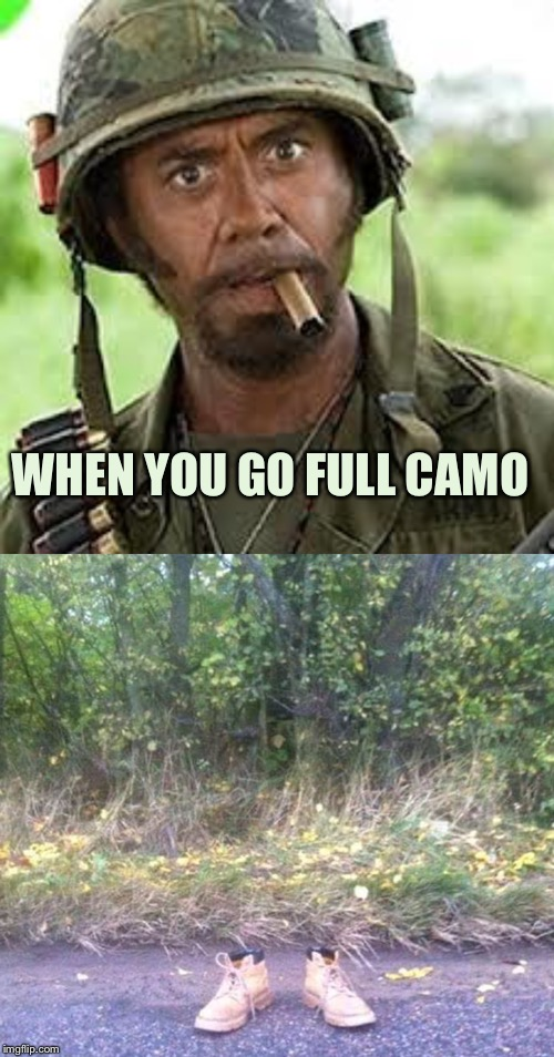 Almost full camo. |  WHEN YOU GO FULL CAMO | image tagged in never go full retard,camo,memes,funny | made w/ Imgflip meme maker