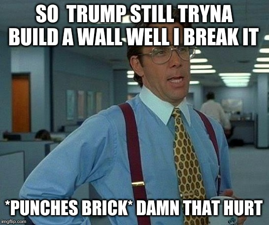 That Would Be Great Meme | SO  TRUMP STILL TRYNA BUILD A WALL WELL I BREAK IT *PUNCHES BRICK* DAMN THAT HURT | image tagged in memes,that would be great | made w/ Imgflip meme maker